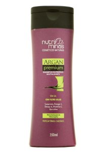 Nutri Minas Argan Premium Shampoo 350ml Embalagem com 3 Unidade.