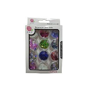 Glitter Borboleta Para Unhas em Gel J&X - 3 Unidades