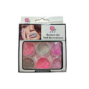 Glitter Rosa Para Unhas em Gel J&X - 3 Unidades