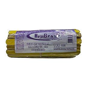 Lixa para Unhas Rolito 13 cm Canário HigiBras Pacote com 100 Unidades - 3 Unidades