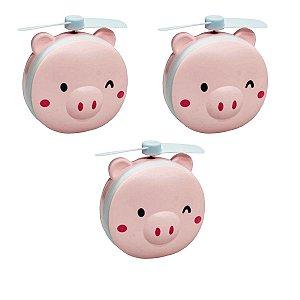 Kit com 3 Mini Espelho Ventilador Portátil Led USB Porquinho HC Fan