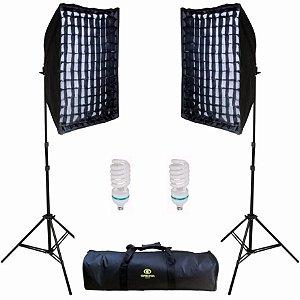 Kit de iluminação Greika AGATA II 220V com 2 lâmpadas 125ws (5500k) 2 difusores 50x70 e 2 tripés