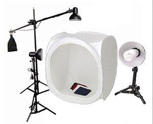 Kit de ilumicação Mini Estudio Still PK-ST10 (110V) 135W com Tenda tamanho 80x80x80cm