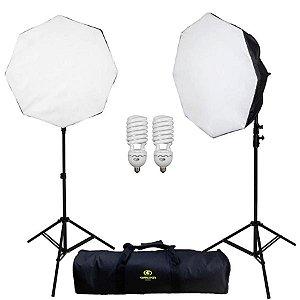 Kit de iluminação Greika AGATA III 110V com 2 lâmpadas 125ws, 2 Soft box octogonal 50 cm e 2 tripés