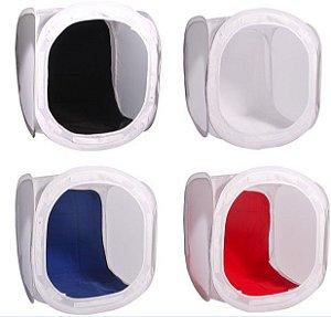 Tenda para iluminação 60x60cm  com 04 pções de fundos (branco, preto, azul e vermelho)