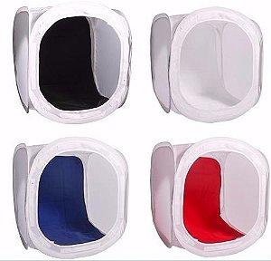 Tenda para iluminação 80x80cm  com 04 pções de fundos (branco, preto, azul e vermelho)