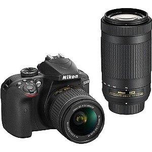 Câmera Nikon D3400 Kit com Lente Nikon AF-P 18-55mm e Lente Nikon AF-P 70-300mm VR