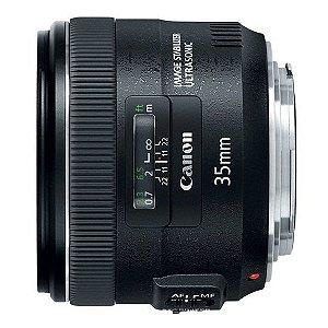 Lente Canon EF 35mm f/2 IS USM grande angular versátil, brilhante com estabilização de imagem