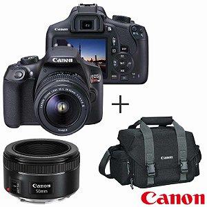 Câmera Canon EOS Rebel T6 Kit Lente EF-S 18-55mm + Lente EF 50mm f/1.8 STM + Bolsa 300DG