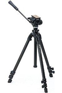 Tripé Slik 504 QFII para foto e vídeo, altura 156cm, fechado 69cm, carga máxima 4kg