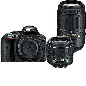 Câmera Nikon D5300 Kit Lente Nikon AF-P 18-55mm e Lente Nikon AF-S 55-300mm VR