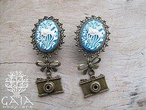 Alargador Camafeu Azul e Bronze Floral + Câmera Retrô