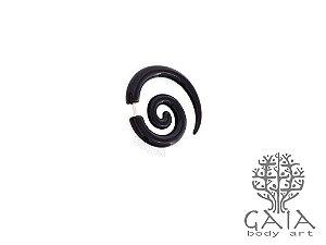 Falso Alargador Espiral Caracol Preto