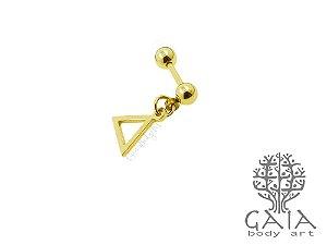Micro Barbell Dourado Pingente Geometria