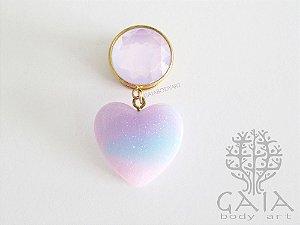 Alargador Dourado & Rosa Sparkling Heart