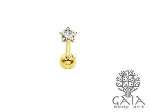 Micro Barbell Dourado Estrela Zircônia