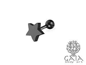 Micro Barbell Preto Estrela