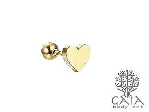 Micro Barbell Coração Dourado