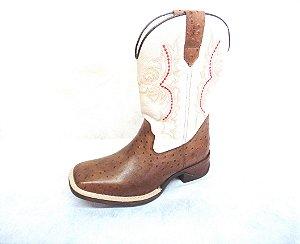Bota Texana Masculina em couro legitimo cor Café Avestruz/ Branco - Coleção 2017