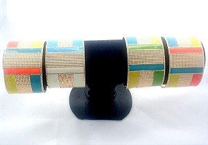 kit Bracelete imitação diamante colorido. Tamanho Ajustável