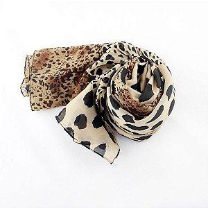 Echarpe lenço feminino leopardo em poliéster. Pronta entrega