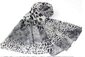 Echarpe lenço feminino zebrado em poliéster. Pronta entrega