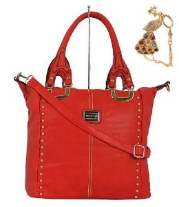 Bolsa feminina vermelha com spike, brinde linda pulseira