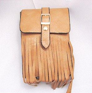 Bolsas carteiras em couro PU com franjas cor caramelo