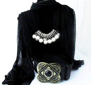 kit combo cinto e lenço feminino moda black