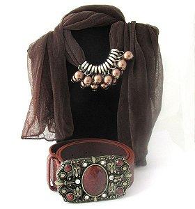 kit combo cinto marrom pedraria e lenço feminino com perola