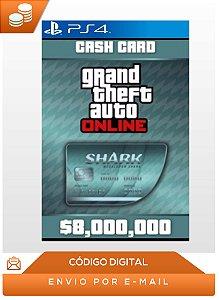 Gta Online Ps4 Megalodon Shark Cash Card 8,000,000$ Dlc