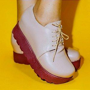 Sapato Couro Evita Nude