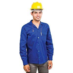 Camisa profissional aberta de brim manga longa