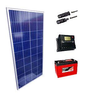 100Wp - Kit Placa Solar 100W, Controlador de Carga 20A c/ LCD, Bateria Estacionária 70Ah e MC4