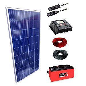 150Wp - Kit Placa Solar 150W, Controlador de Carga 30A c/ LCD, Bateria Estacionária 240Ah, 10m Cabo Solar e MC4
