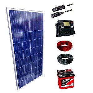 150Wp - Kit Placa Solar 150W, Controlador de Carga 20A c/ LCD, Bateria Estacionária 70Ah, 10m Cabo Solar e MC4
