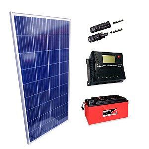 150Wp - Kit Placa Solar 150W, Controlador de Carga 20A c/ LCD, Bateria Estacionária 240Ah e MC4
