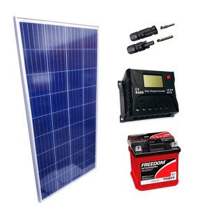 150Wp - Kit Placa Solar 150W, Controlador de Carga 20A c/ LCD, Bateria Estacionária 40Ah e MC4