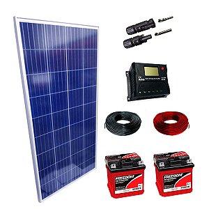 340Wp - Kit Placa Solar 340W, Controlador de Carga 20A c/ LCD, 02 Baterias Estacionárias 70Ah, 10m Cabo Solar e MC4