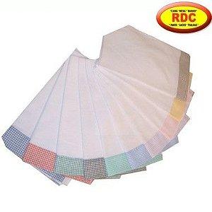 Pano de Prato RDC com Barra Xadrez Cores Variadas 100% Algodão 40x65cm - Pacote com 10 Peças