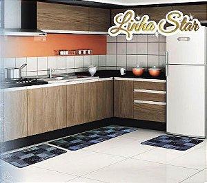 Kit de Tapetes para Cozinha Estampado Antiderrapante 3 Peças - Lulilu
