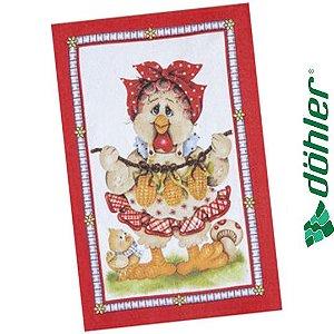 Pano de Copa Felpudo Döhler Prata Chickens Cor Vermelho 45x65cm