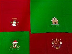 Kit 2 peças Pano de Copa de Natal Luiza 100% algodão DeyFort 48x75cm