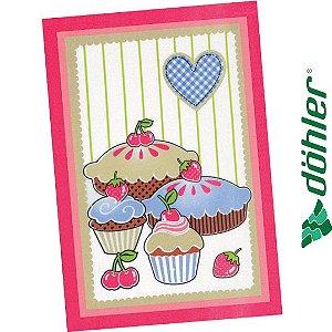 Pano de Copa Felpudo Dohler Prata Sweet Cakes Cor Rosa 45x65cm