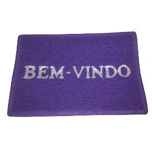 Tapete de Vinil Bem Vindo Cor Roxo 40x60cm