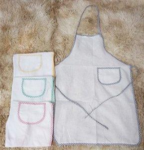 Avental de Pano Branco Liso com Vies Colorido Variado 100% Algodao 47x65cm