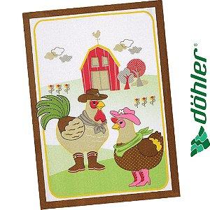 Pano de Copa Felpudo Dohler Prata Country Chicken Cor Marrom 45x65cm