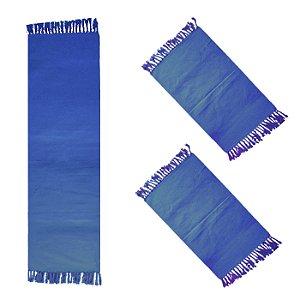 Jogo de Tapetes de tear Colorido Cor Azul - 03 Peças