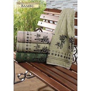 Jogo de Banho Jacquard Bambu Cor Verde Escuro 2 peças - Dianneli