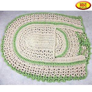 Jogo de Banheiro de Crochê Cru com detalhe Cor Verde - 03 Peças